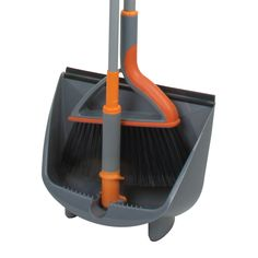 The Casabella Quick n'Easy Upright Sweep Set features a full size broom with a standup dustpan on a pole. Feet hold dustpan steady on the floor. Broom And Dustpan, Floor Care, Good Housekeeping, Clean Up, Clean House, Cleaning Hacks, Household, Flooring, Interior Design