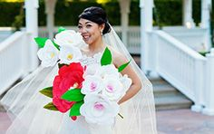 Paper flowers are a great addition to traditional floral bouquets that can last forever #Disneyland #wedding #flowers