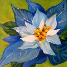 """Blue  Poinsetta"" -- Meltem Kilic Oil"