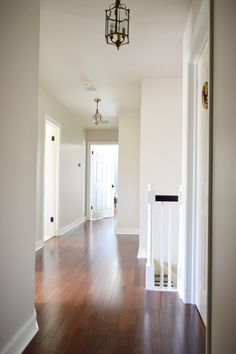 Trim Paint: Benjamin Moore's Simply White in semi-gloss just like the trim and the doors upstairs. Wall Paint: Edgecomb Gray