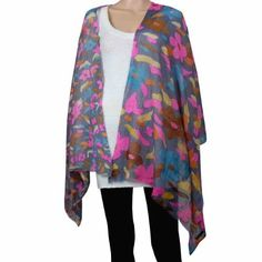 Amazon.com: Floral Print Colorful Woolen Scarf Accessories for Women Wraps and Shawls: Clothing