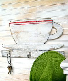 Add instant country-inspired flair to a wall with this playful piece. Made from southern pine plywood, it's guaranteed to lend plenty of warm, rustic charm to any living space. Urban Kitchen, Kitchen Art, Kitchen Wood, Kitchen Stuff, Kitchen Decor, Diner Sign, Pine Plywood, Key Rack, Organizers
