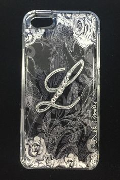 "NEW DEBBIE BROOKS IPHONE 5 CLEAR COVER INITAL ""L"" SWAROVSKI CRYSTAL CASE BLACK #DEBBIEBROOKS"