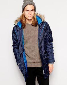 D-Struct Parka Jacket With Faux Fur Hood