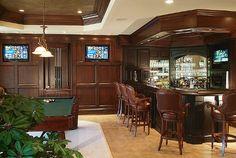 Bar/billiards in the basement (man cave)