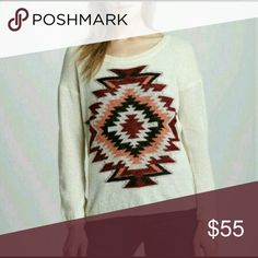 Maison Scotch Tribal Pullover Sweater Size S Excellent condition, no flaws.  This trendy tribal inspired sweater has knit tribal pattern with ribbed trim.  Scoop neckline.  Long drop sleeves, with a relaxed fit.  Hem hits below hips.  Nylon..Acrylic and Mohair. Maison Scotch Sweaters Crew & Scoop Necks