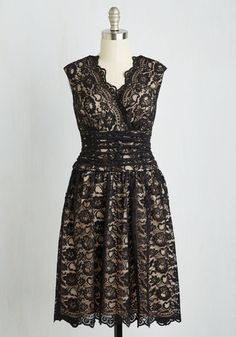 Meet Me at the Arboretum Dress. Amidst the gorgeous landscape of exotic trees and plants, you greet your sweetheart in this black lace dress. #black #modcloth