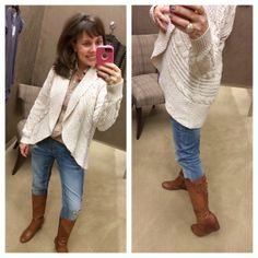 cute and cozy cable-knit cardigan!  great to layer up in for fall!