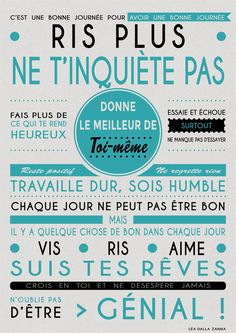 Affiche pour donner la bonne humeur le matin :) Positive Mind, Positive Attitude, Positive Thoughts, Positive Vibes, Positive Quotes, Motivational Quotes, Inspirational Quotes, The Words, Cool Words