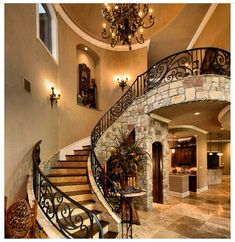 35 Grand Staircase Inspiration - Space for staircase is decided based on the whole size of the house. Yes, tiling the staircase is a remarkable method to give them a great appearance. by Joey Grand Staircase, Staircase Design, Curved Staircase, Luxury Staircase, Stair Railing, Style At Home, House Goals, Stairways, My Dream Home