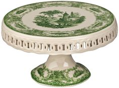This beautiful porcelain cake stand features a traditional transferware design in green and white. Red transferware design on top and base. Style # at Lamps Plus. Vintage Bowls, Vintage Tableware, Vintage Dishes, Vintage Glassware, Vintage Green, Green China, White China, Kitchenaid, Cake Carrier