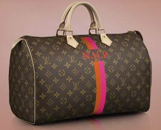 """LV Mon Monogram. Raise your hand if you put off having things three-letter-monogrammed until you were married and had your """"final"""" letters! (I have a King Ranch Bolsa bag with just a K on it for this reason. :) )"""