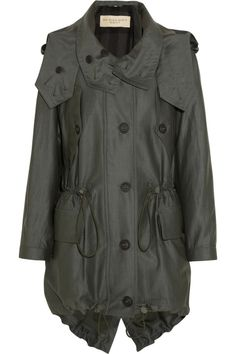 Burberry Prorsum Cottontwill Parka in Green (olive) | Lyst