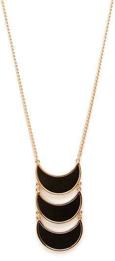 Forever 21 Faux Leather Crescent Necklace