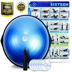 balance-bosu-trainer-ball-yoga-pump-blue-w-23-kit-fitness-workout-exercise-gym