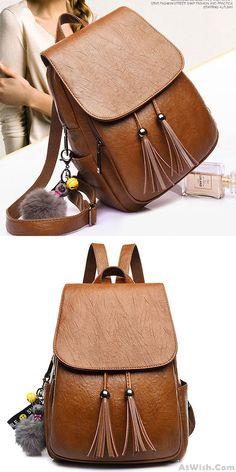 Leisure Tassel Simple Brown PU School Bag Simple British Style College Backpack for big sale ! #backpack #bag #school #student #college #tassel