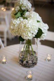 Centerpiece...fresh hydrangea flowers available at Flyboy Naturals in season.  www.flyboynaturals.com