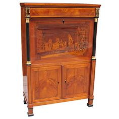 Unusual Biedermeier Marquetry Secretaire | From a unique collection of antique and modern secretaires at http://www.1stdibs.com/furniture/storage-case-pieces/secretaires/