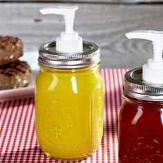 Mason Jar Condiment / Soap Dispensers. Great decorative idea for summer parties!