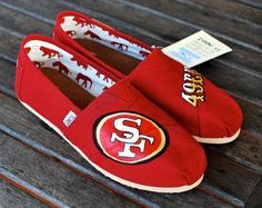 i am not a fan of toms, but might reconsider for these - Custom 49ers TOMS shoes by BStreetShoes on Etsy