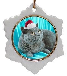 British Shorthair Cat Jolly Santa Snowflake Christmas Ornament