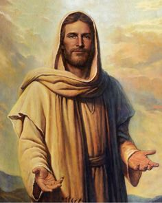 Abide With Me. A beautiful painting of Jesus Christ standing with open arms to greet us. Painting by Del Parson. Pictures Of Jesus Christ, Jesus Christ Images, Jesus Art, Arte Lds, Abide With Me, Overcome Evil With Good, Our Father In Heaven, Heavenly Father, Lds Art