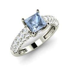 Princess-Cut Aquamarine Ring in 14k White Gold with SI Diamond