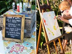 Love this idea of having guests help create an original piece of art!