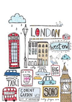 art, illustration, and london image - Travel London Illustration, Travel Illustration, London Art, London Style, London Flag, London Icons, Travel Posters, Doodle Art, Illustrator