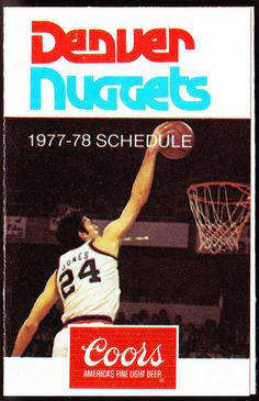 1977-78 DENVER NUGGETS COORS BEER BASKETBALL POCKET SCHEDULE FREE SHIPPING #SCHEDULE