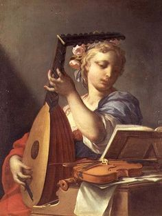 Francesco Trevisani - Personification of Music : A Young Woman Playing a Lute
