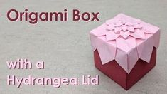 Mother's Day Origami Tutorial: Hydrangea Box (Shuzo Fujimoto) Kirigami, Origami Box Tutorial, Origami Instructions, Origami Gifts, Origami Easy, Dollar Origami, Rosen Box, Origami Paper Folding, Paper Folding Crafts