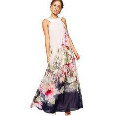 Sanwony New Arrival Summer Women Casual Floral Print Sleeveless Long Chiffon Dress