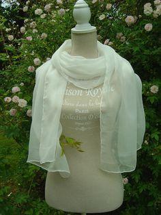 Seidenschal 180x55cm weiss Crinkle Chiffon  von Textilkreativhof auf DaWanda.com