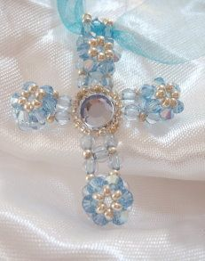 Beaded Cross PATTERN flowers croix fleuret