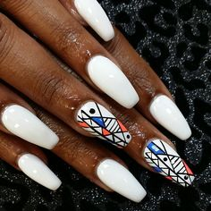 White coffin/ballet nails with a Geometric nail design on the accent nail! Sexy Nails, Hot Nails, Hair And Nails, Sparkle Nails, Fancy Nails, Pretty Nails, Pretty Nail Designs, Nail Art Designs, Rasta Nails