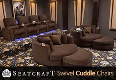 Seatcraft Swivel Cuddle Chair Home Theater Decor, Home Theater Seating,  Theater Seats, Home