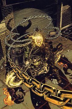Ghost Rider by Mike Deodato Jr. Marvel Comics Art, Marvel Heroes, Ms Marvel, Captain Marvel, Marvel Comic Character, Marvel Characters, Marvel Universe, Comic Books Art, Comic Art