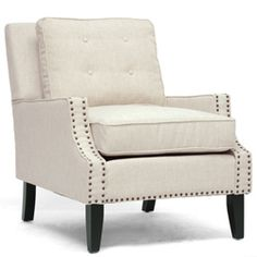 @Overstock.com.com - Baxton Studio Norwich Beige Linen Modern Lounge Chair - Mid-century form, modern angles, and traditional linen merge into a single statement piece for your modern living room furniture collection or entryway. Bronze nail head trim, black wood legs and a beige linen upholstery finish this chair.  http://www.overstock.com/Home-Garden/Baxton-Studio-Norwich-Beige-Linen-Modern-Lounge-Chair/7123103/product.html?CID=214117 $350.09