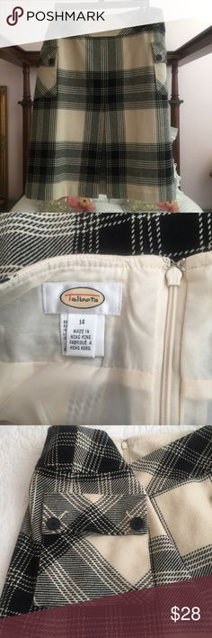 Talbots black/white front pleat skirt, size 14 Talbots brand skirt, black and white plaid, back zip, fully-lined, size 14. Suuuuper cute! Talbots Skirts Mini