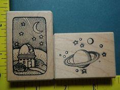 Planetarium Space Planet Stars Lot Set Scenery RARE Stampa Barbara Rubber Stamp | eBay