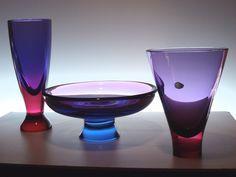 Murano Art Glass Viola Rosso Vases Bowl Flavio Poli Seguso Vetri D'Arte 1950'S | eBay