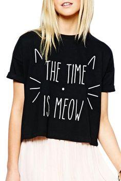 Kitten Print Short Sleeve Black T-Shirt BLACK: Tees | ZAFUL