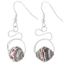 Recycled Magazine Bead Swirl Earrings : The Animal Rescue Site