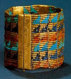 Bracelet of Queen Ahhotep, Egypt. | ca 1530 BC | Gold with lapus lazuli and other precious beads; bracelet, Queen Ahhotep, name of King Ahmose I inscribed on the clasp; Dynasty XVIII; Egyptian Museum