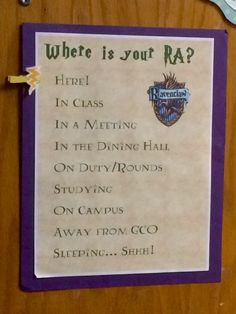 Resident assistant where is your RA door dec, Harry Potter