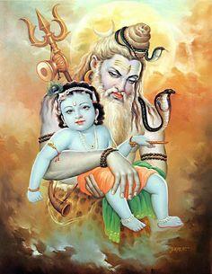 Lord Shiva Visit Gokul to see Baby Krishna Shiva Art, Shiva Shakti, Krishna Art, Hindu Art, Radhe Krishna, Yashoda Krishna, Krishna Leela, Shiva Hindu, Shree Krishna