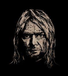 Kurt Cobain - Forever Old by teokon, Handmade woodcut 26x30 cm.