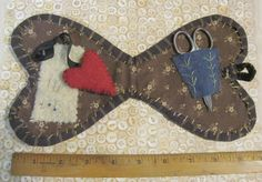 Early19thC. Sm. Heart Shape Sewing Kit-Blue Calico w/Contents Heart Scissor etc | eBay