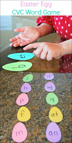 Easter Egg CVC Word Game - Easy to make game helps kids learn to make words.